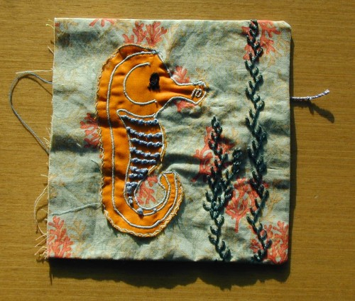 Pattern for book page -  seahorse