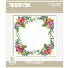 Tropical Flowers traced linen table topper embroidery kit - Beutron